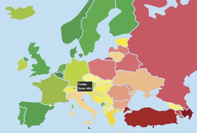 Gdje je Hrvatska na duginoj mapi Europe? Niže nego što je ikad bila.